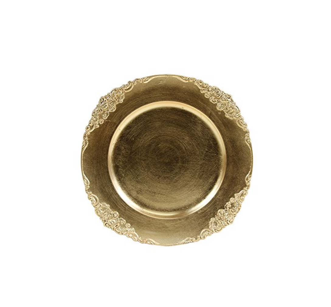 Koyal Wholesale Vintage Charger Plate in Gold, Set of 4