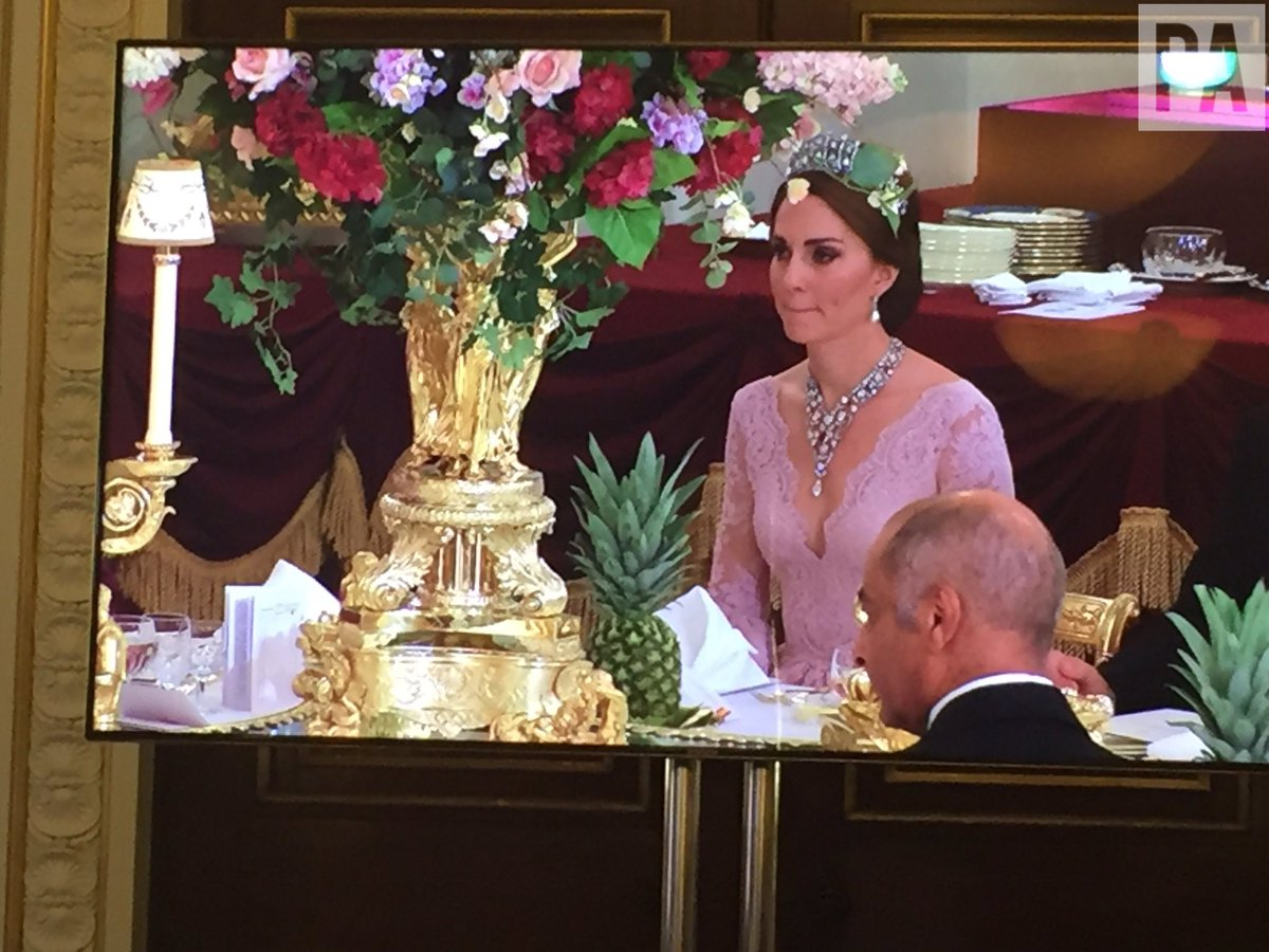 Kate Middleton at State Banquet in Tiara