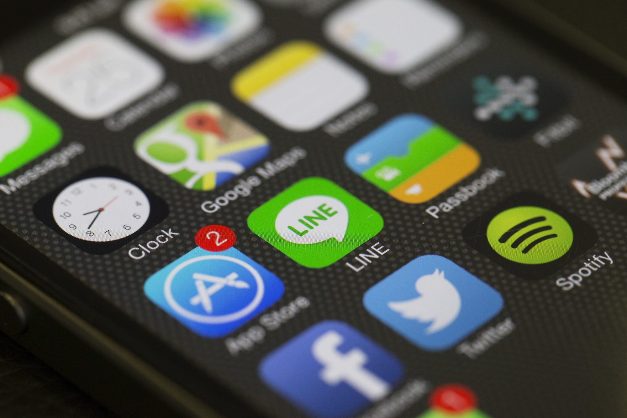 close up picture of smart phone apps