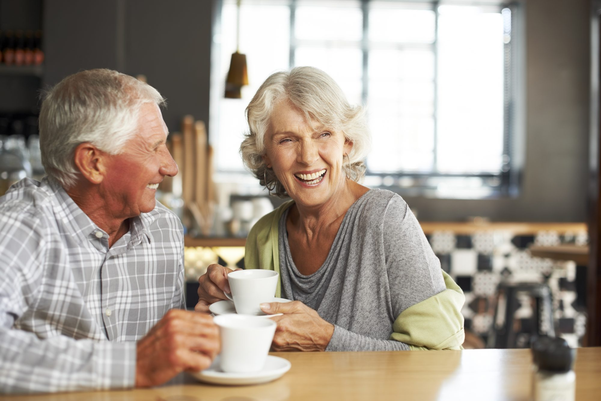 retirees enjoy coffee