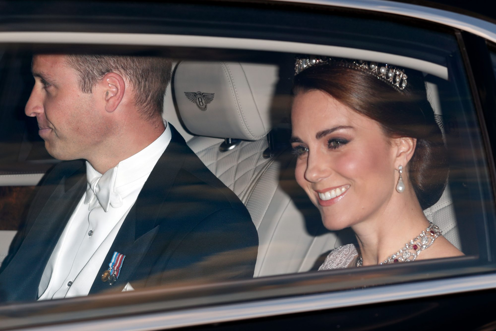 Kate Middleton in Car with Tiara