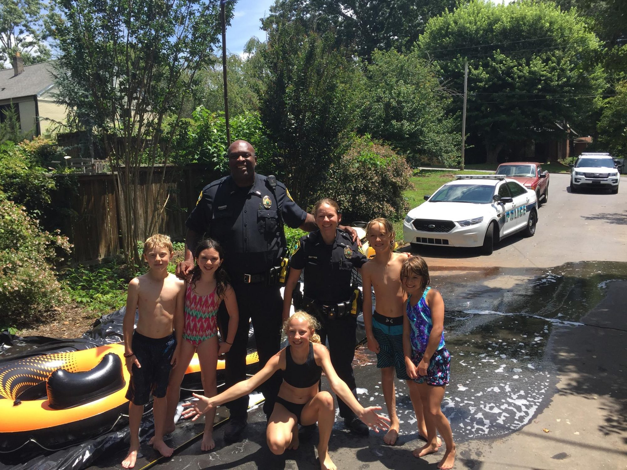 north carolina police officers slip and slide