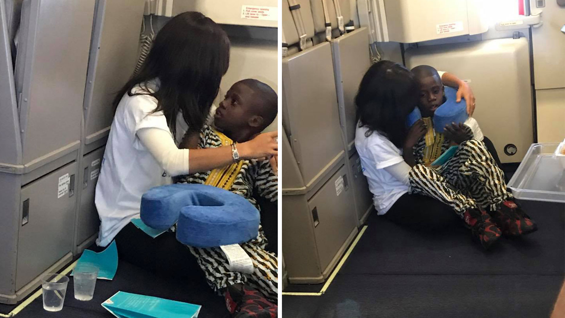 Rochel Groner Comforting Boy On Flight