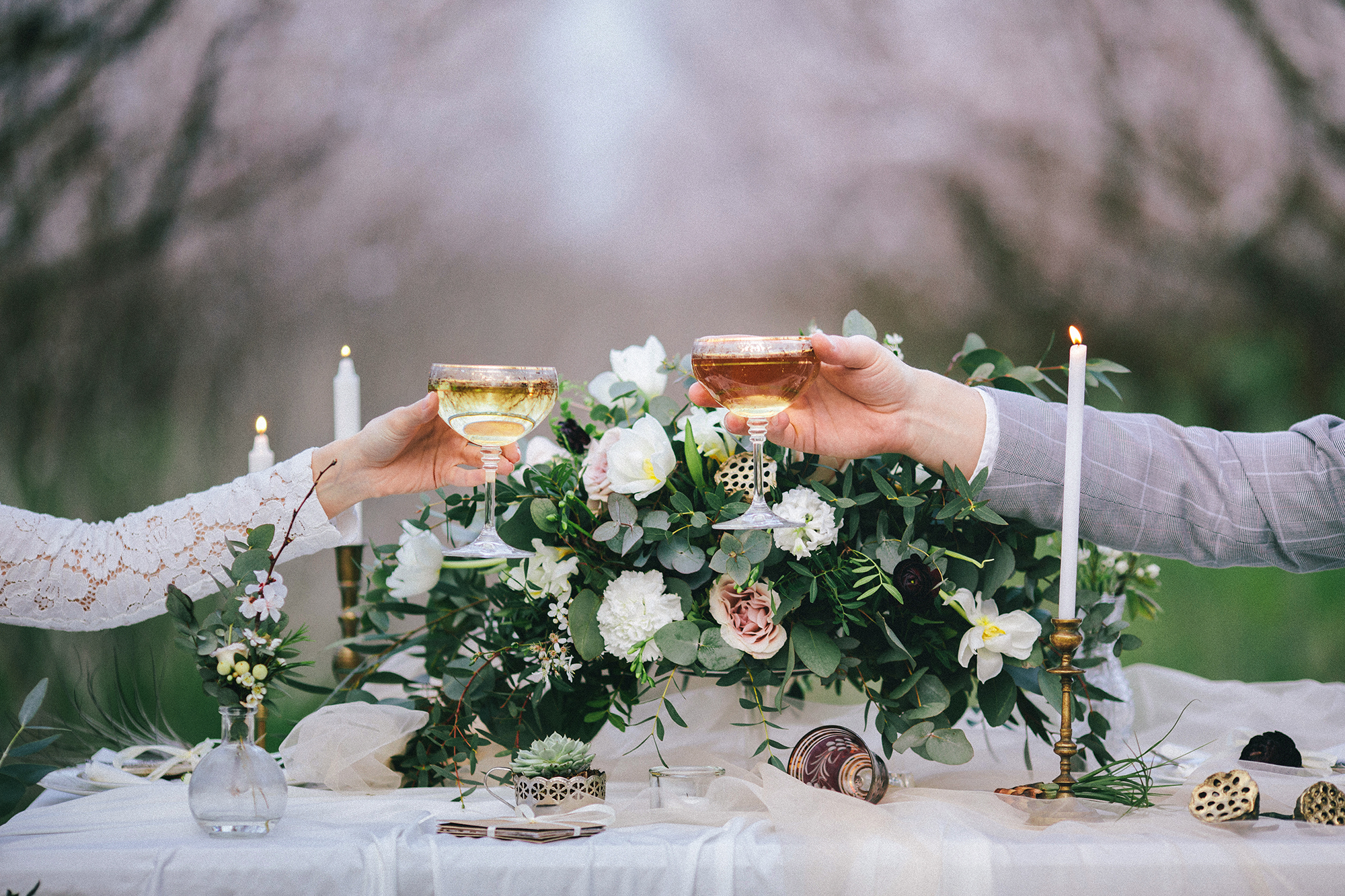 Wedding Toast Bride and Groom Table