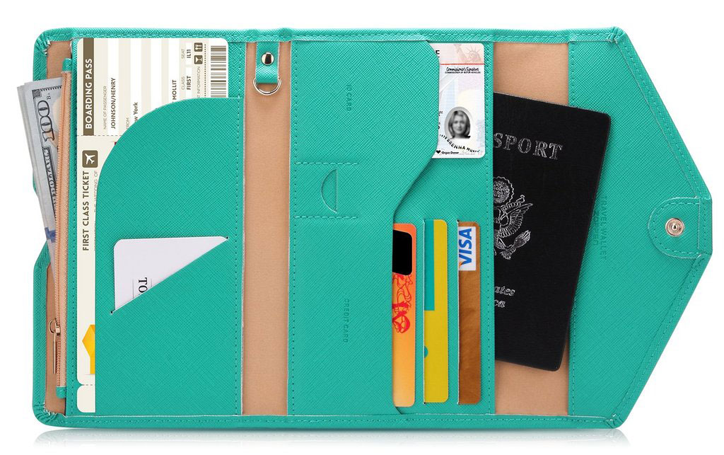 Travel Passport Wallet and Document Organizer