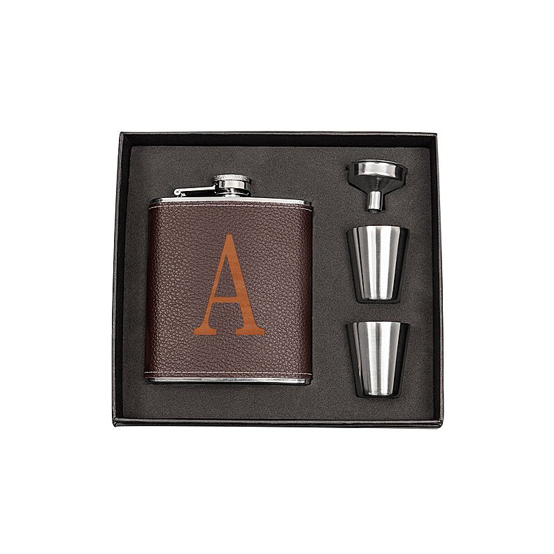 Cathy's Concepts Initial Brown Leather-Wrapped Flask Set