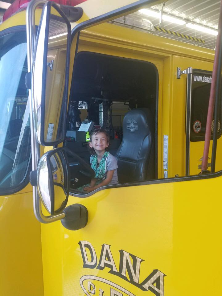 Little Girl Gets Ride to School in Fire Truck