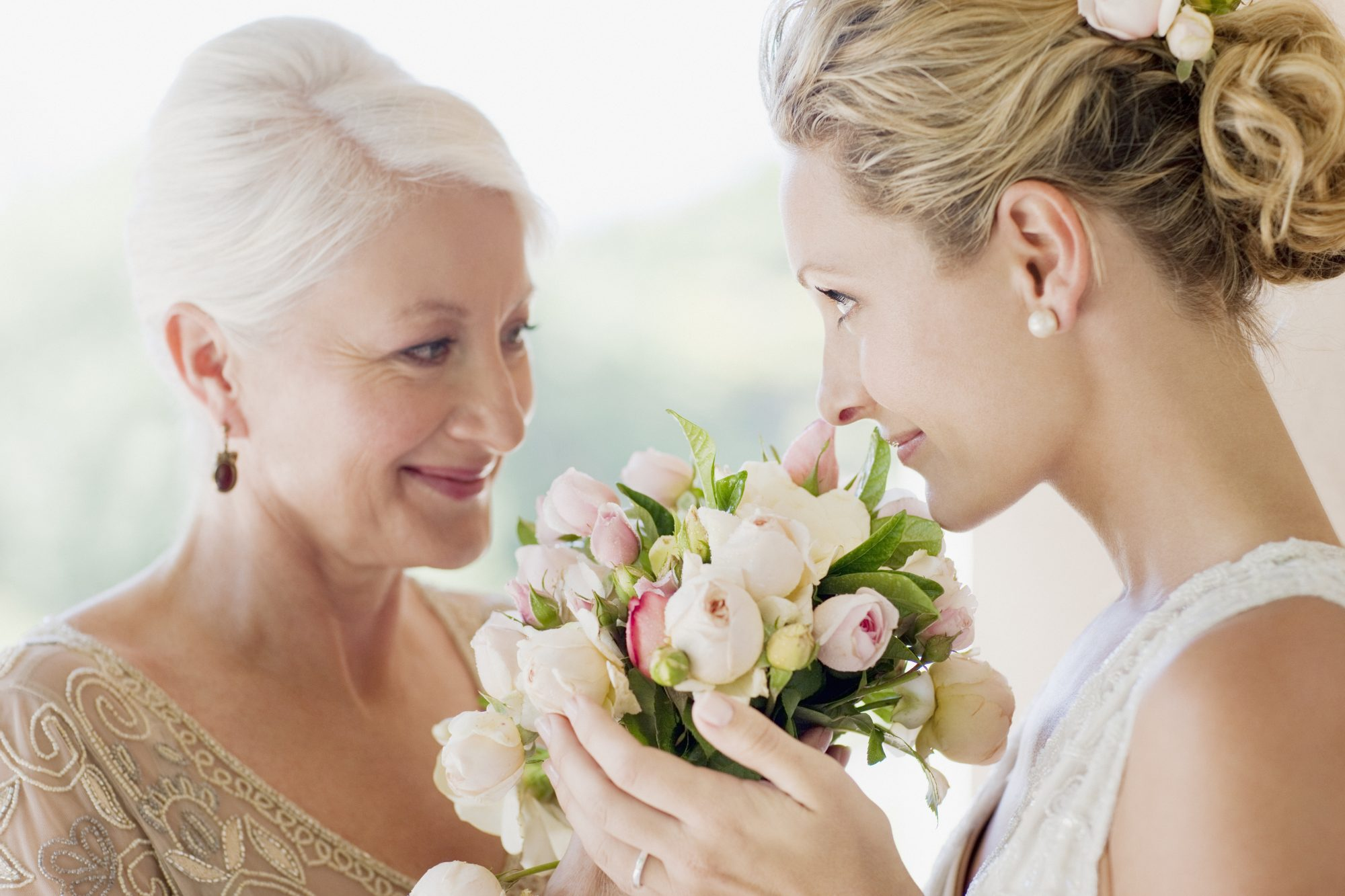Bride and Mother of the Bride with Bouquet