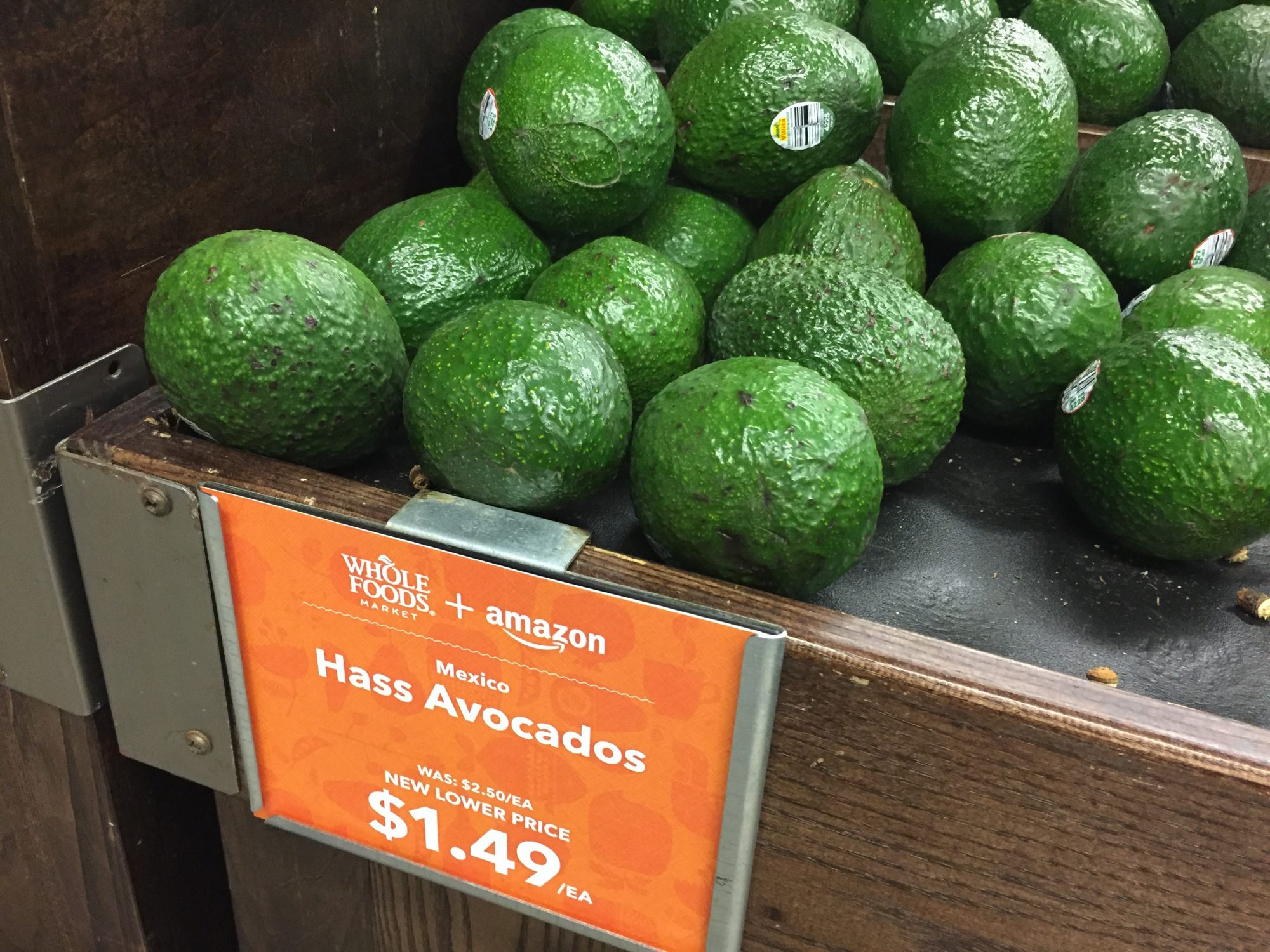 Lower priced avocados at a Whole Foods Market