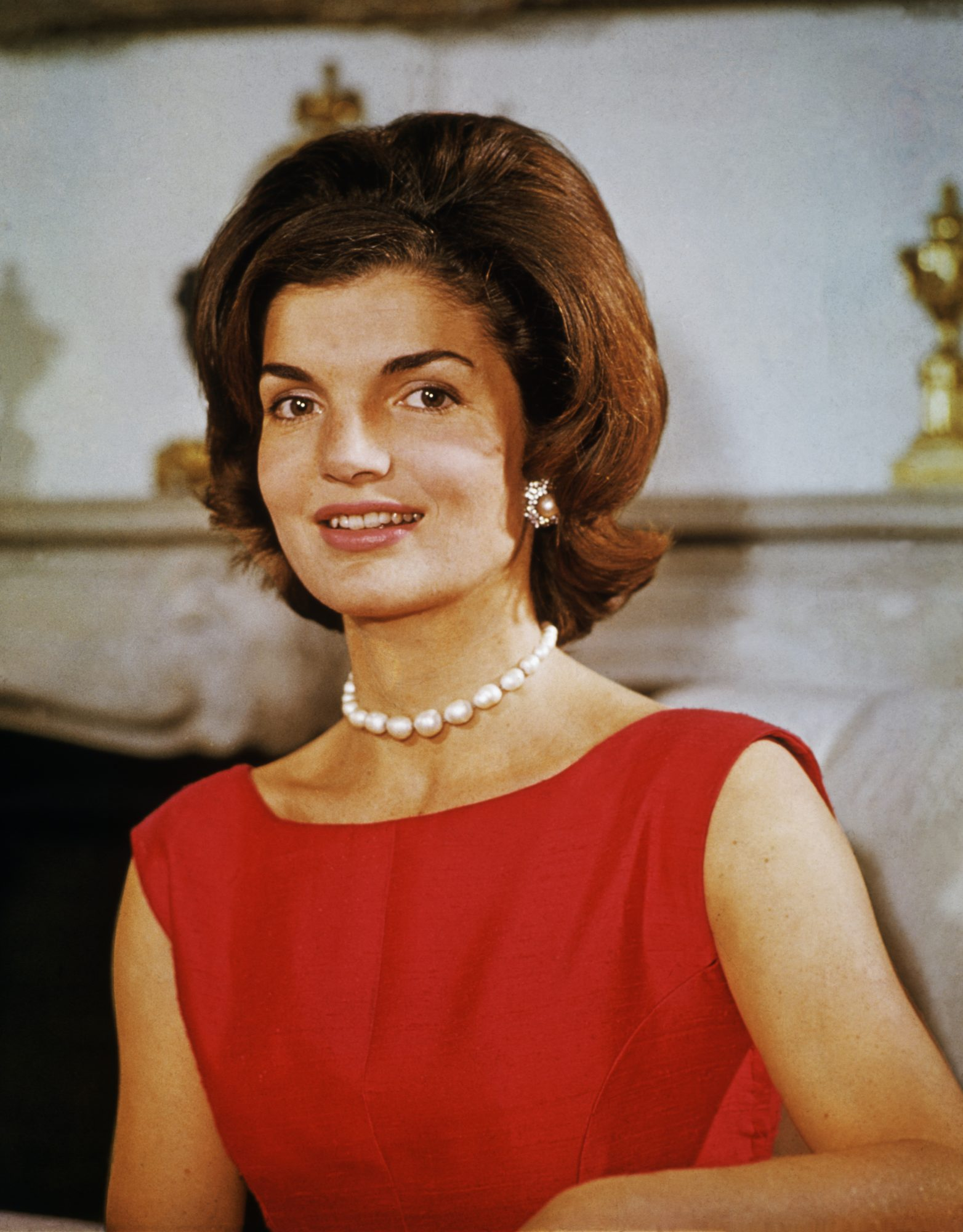 Jackie Kennedy in Red Dress with Pearls