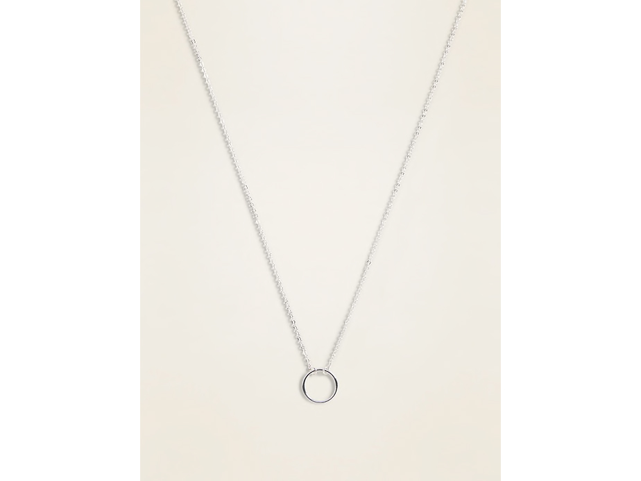 Silver-Toned Circle Pendant Necklace