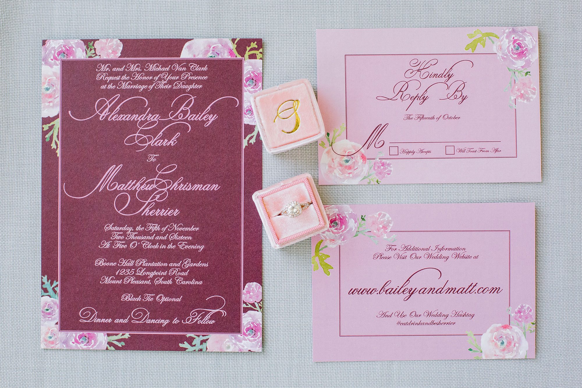 Delightful, Deep-Hued Wedding Invitation Suite