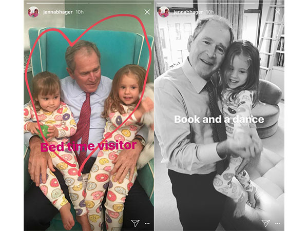 George W. Bush with Granddaughters Mila and Poppy