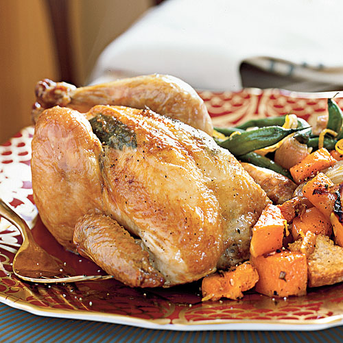Cornish Game Hens with Butternut Croutons