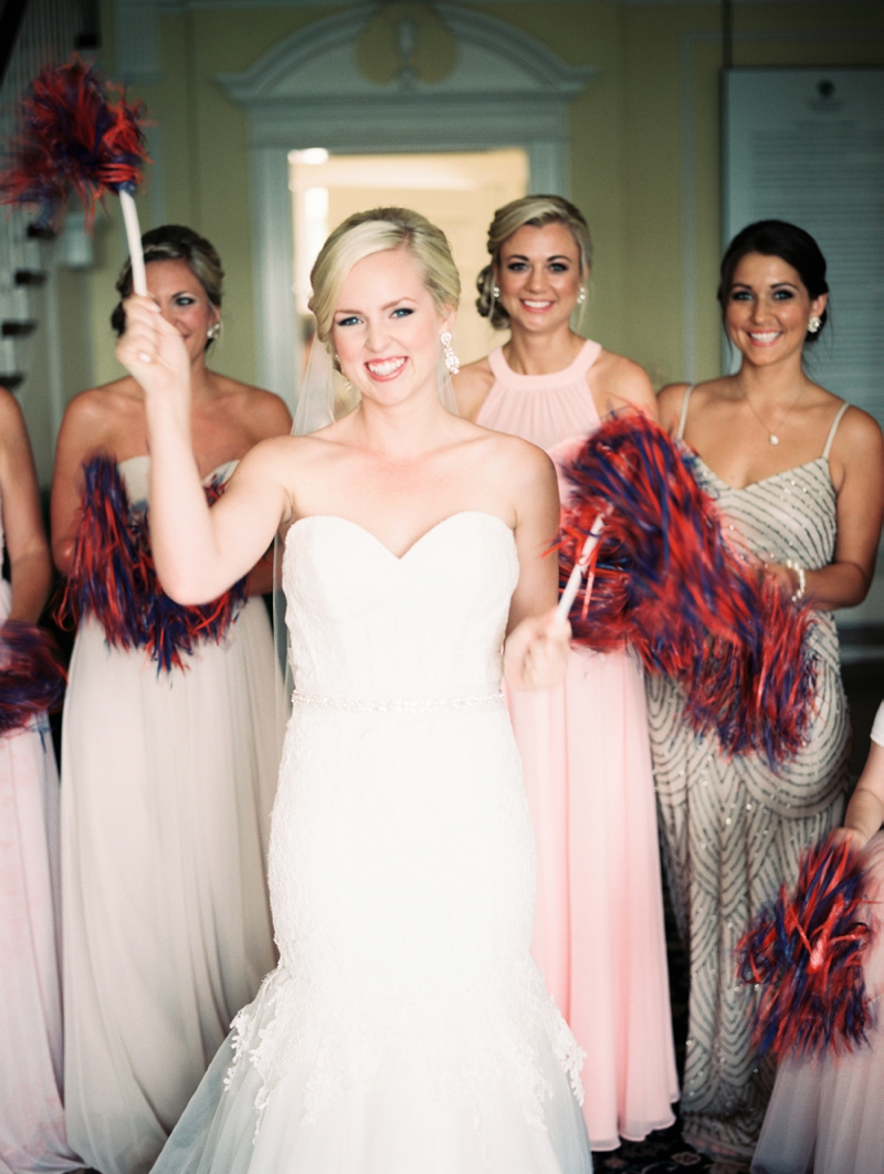 Football Bride Holding Pom Poms
