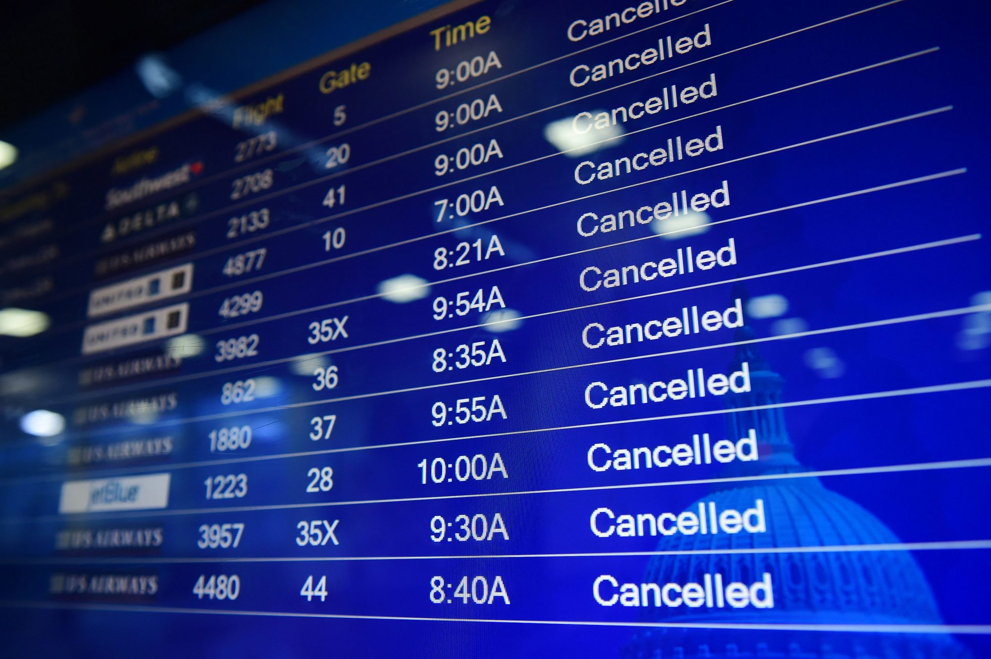 Flight Cancellations Screen at Airport