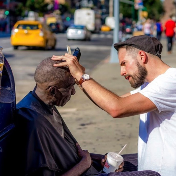 Joshua Coombes Giving Homeless Man Haircut