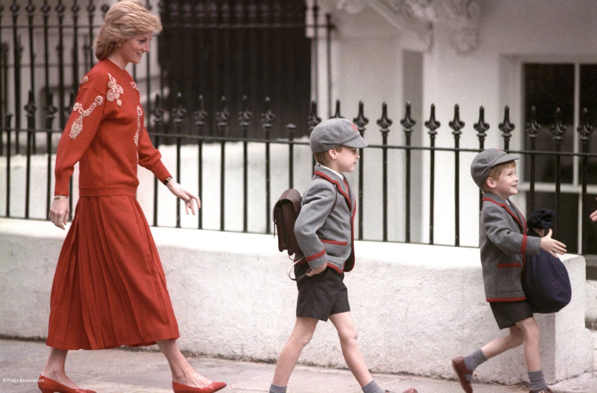 Princess Diana, William, and Harry at Wetherby School 1989