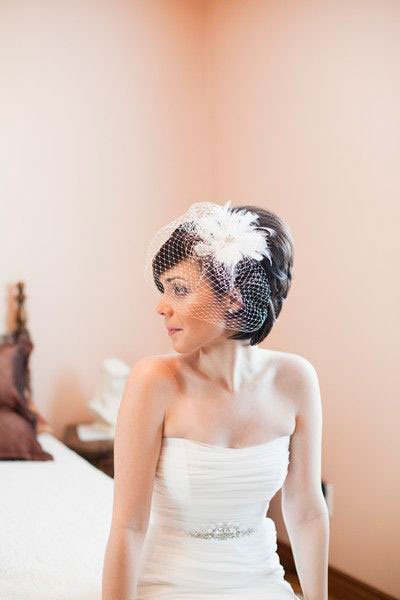 Stacked Bob with Birdcage Veil