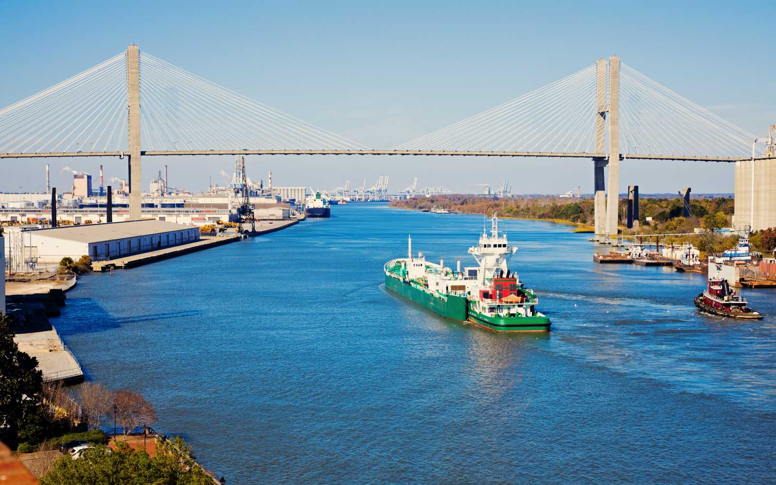Ship entering port of Savannah - Talmadge Memorial Bridge