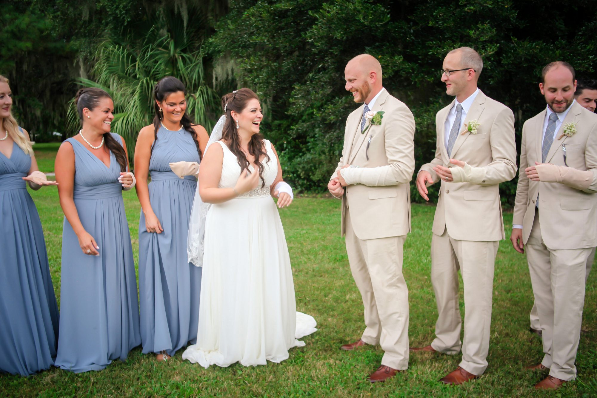 Summers Bridesmaids and Groomsmen Wearing Bandages