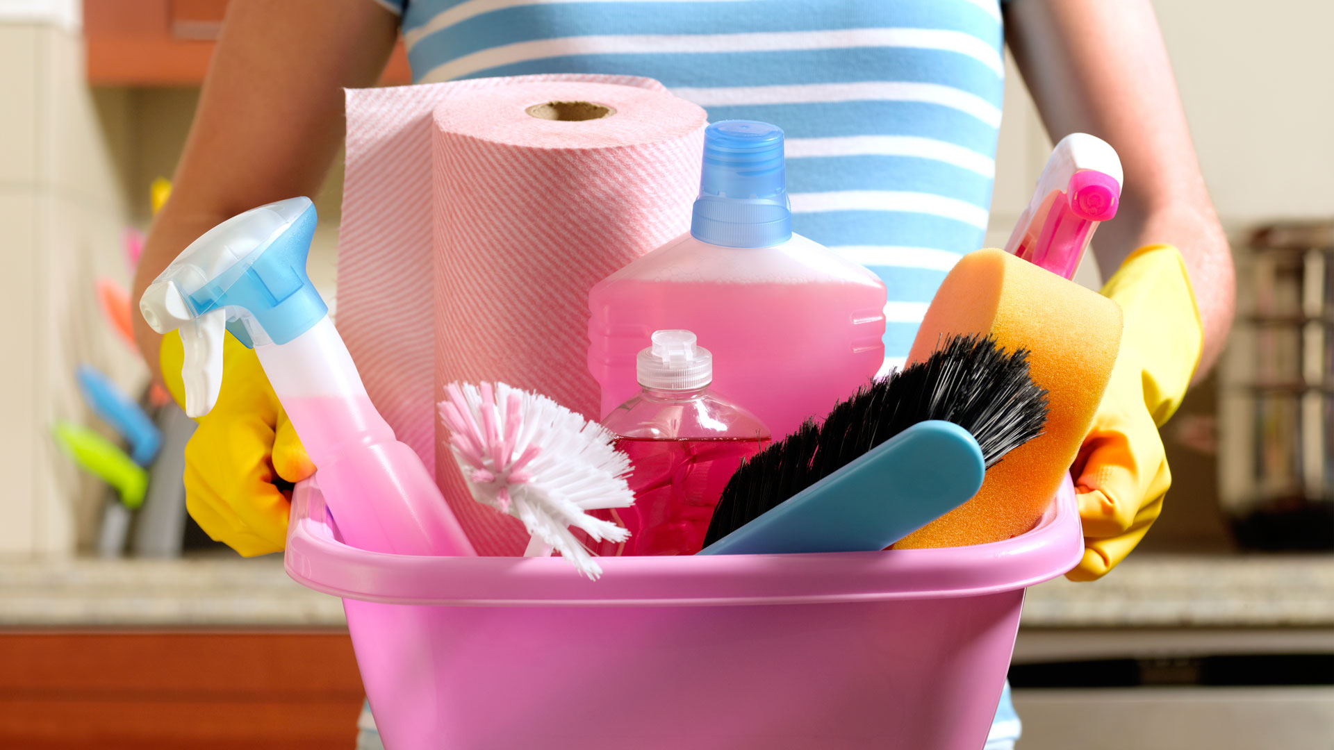 Getty Cleaning Supplies In Pink Bucket Image