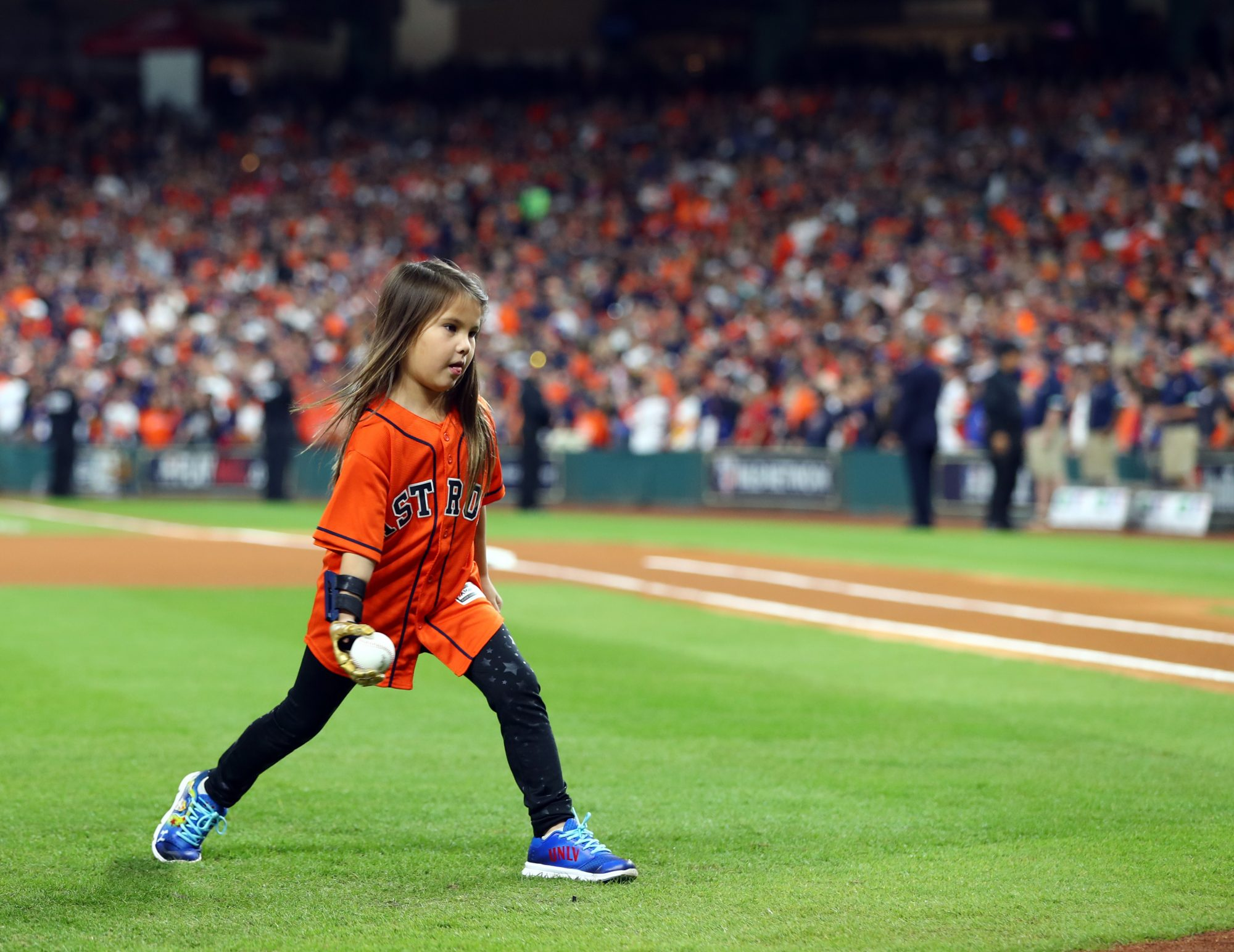 Hailey Dawson Throws First Pitch Game 4