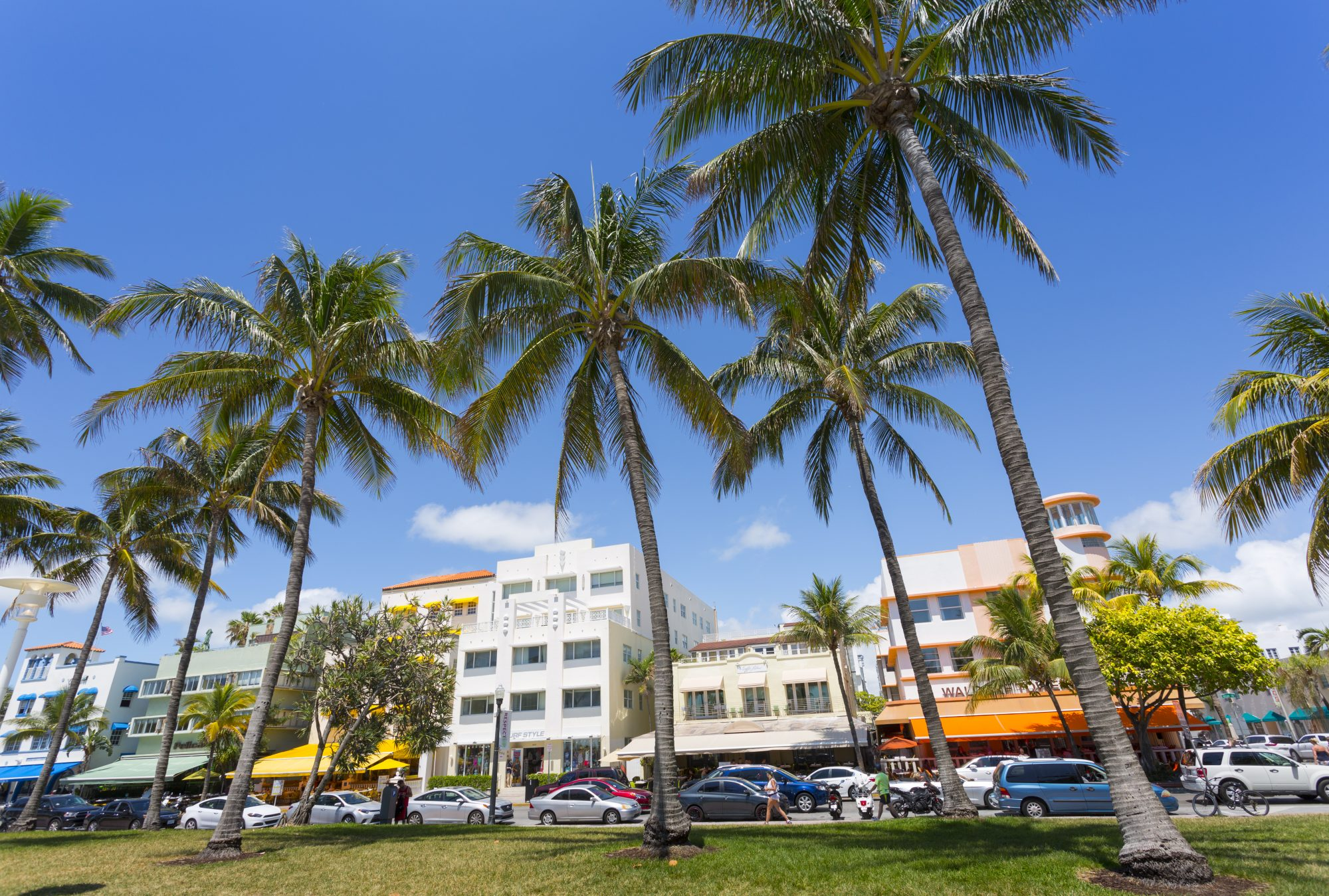 Ocean Drive and Art Deco architecture, Miami Beach, Miami, Florida, United States of America, North America