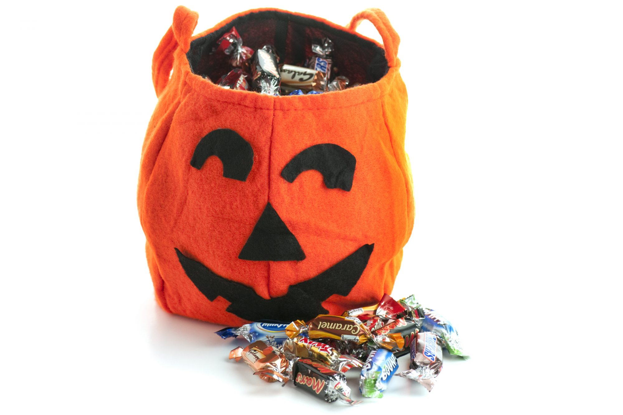 Halloween Trick or Treat Pumpkin bag with candy