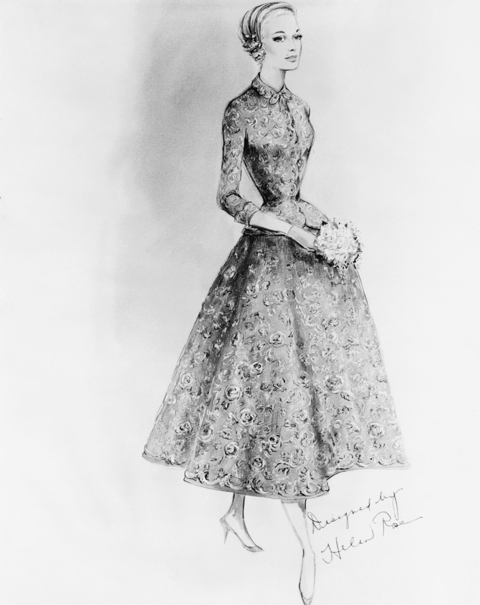 Grace Kelly Civil Ceremony Suit Sketch