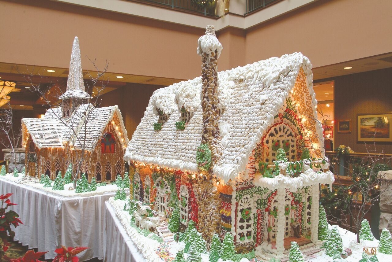 Check out the over-the-top gingerbread village at Chateau on the Lake.