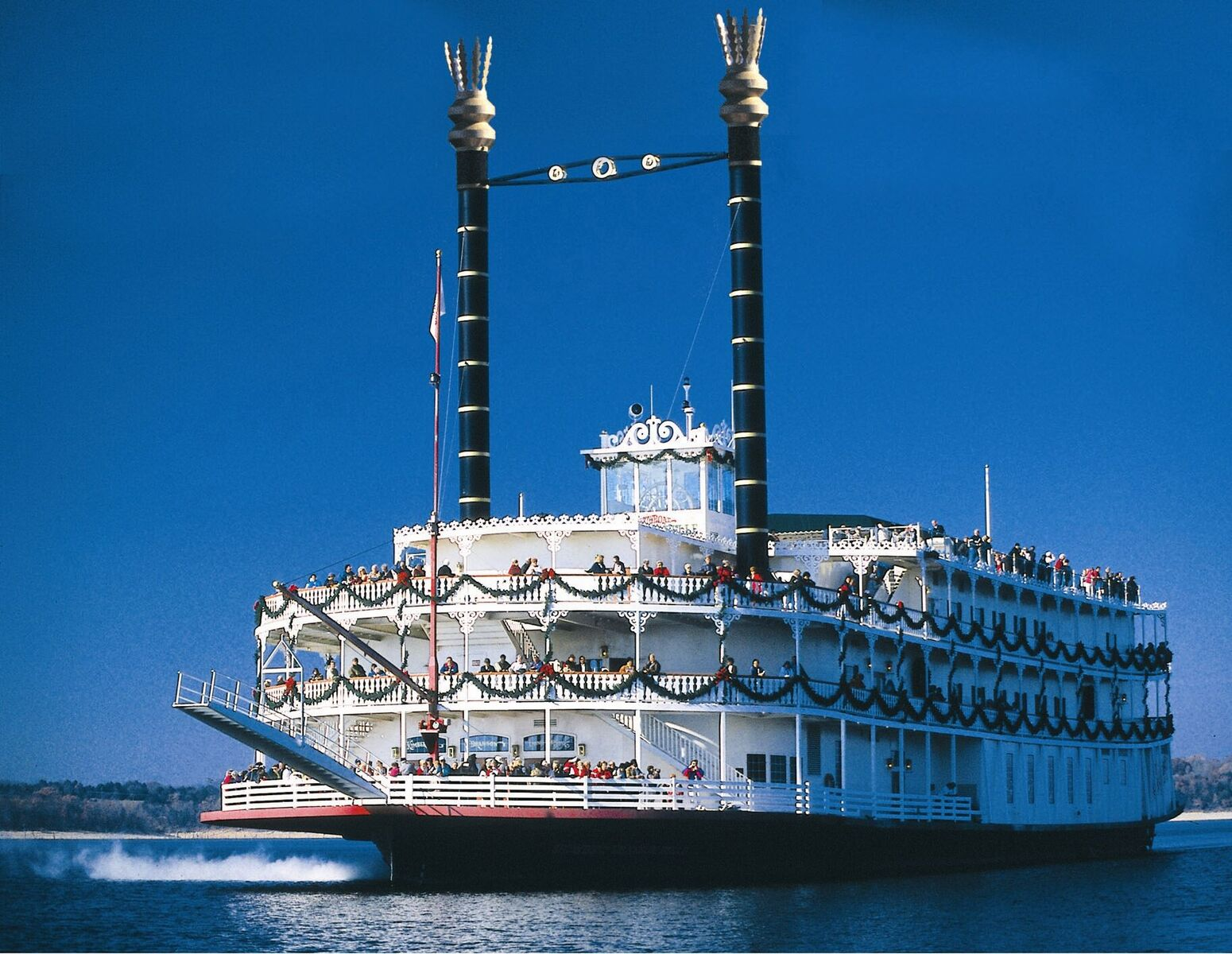 Sail the waters on the Showboat Branson Belle, a 1890s-style paddlewheeler.