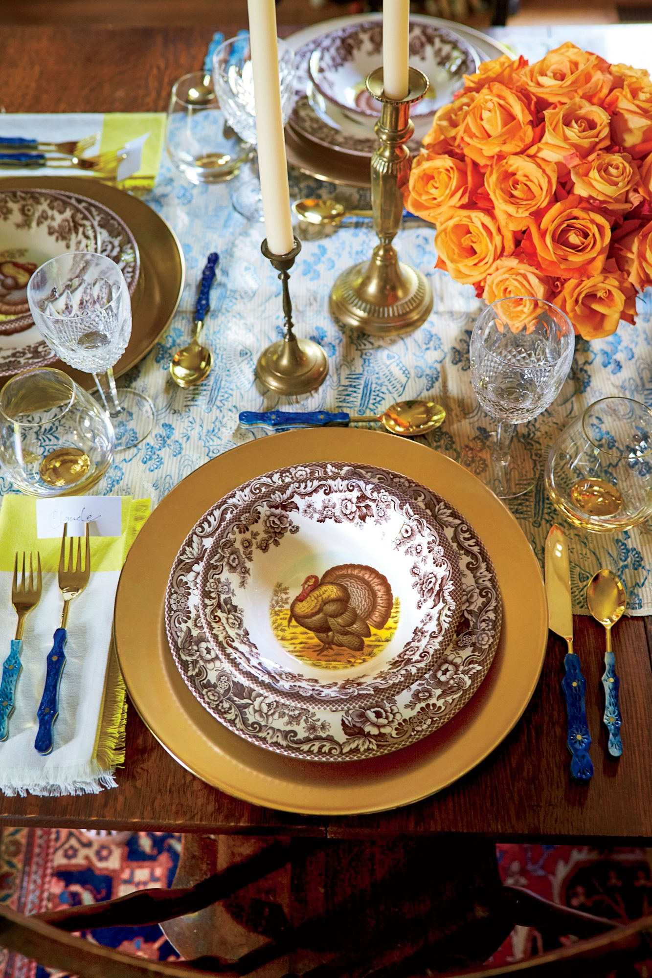 Thanksgiving Table Setting with Turkey Plates