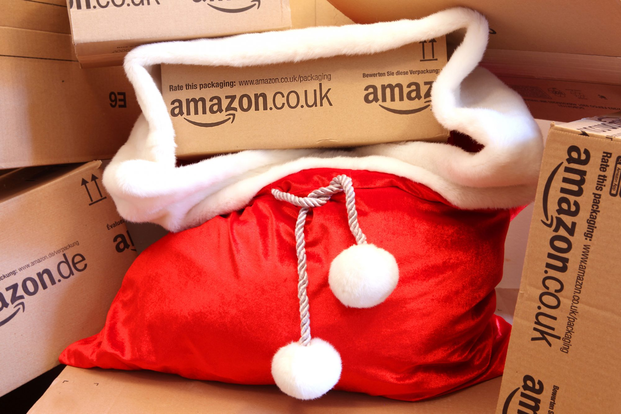 Amazon Boxes with Santa Hat