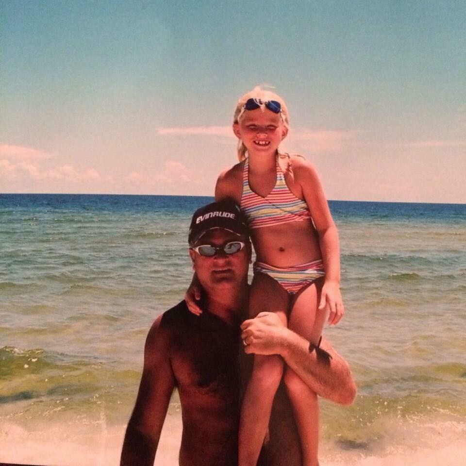 Bailey Sellers and her Late Father at the Beach