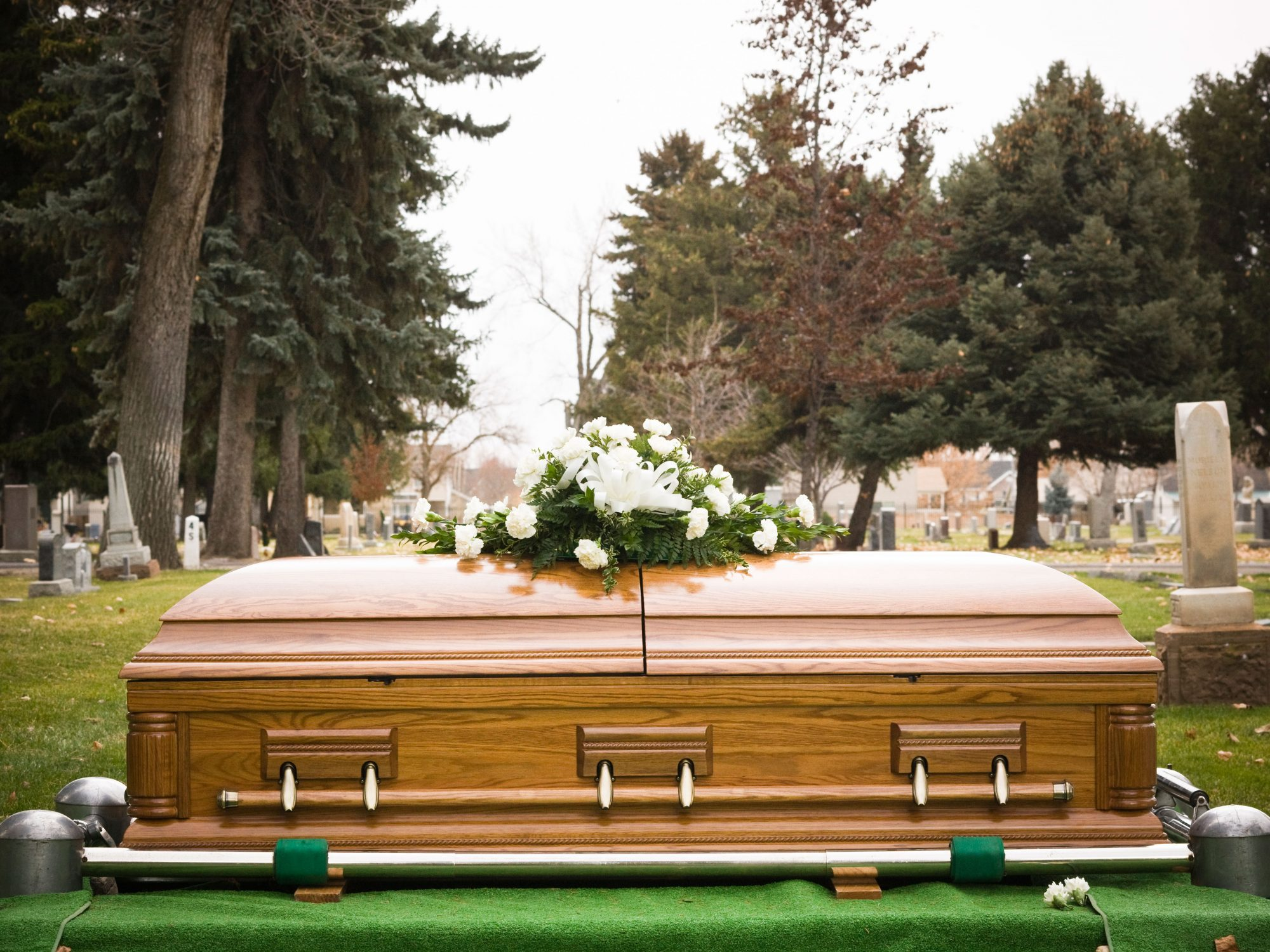 Funeral Coffin at Cemetery