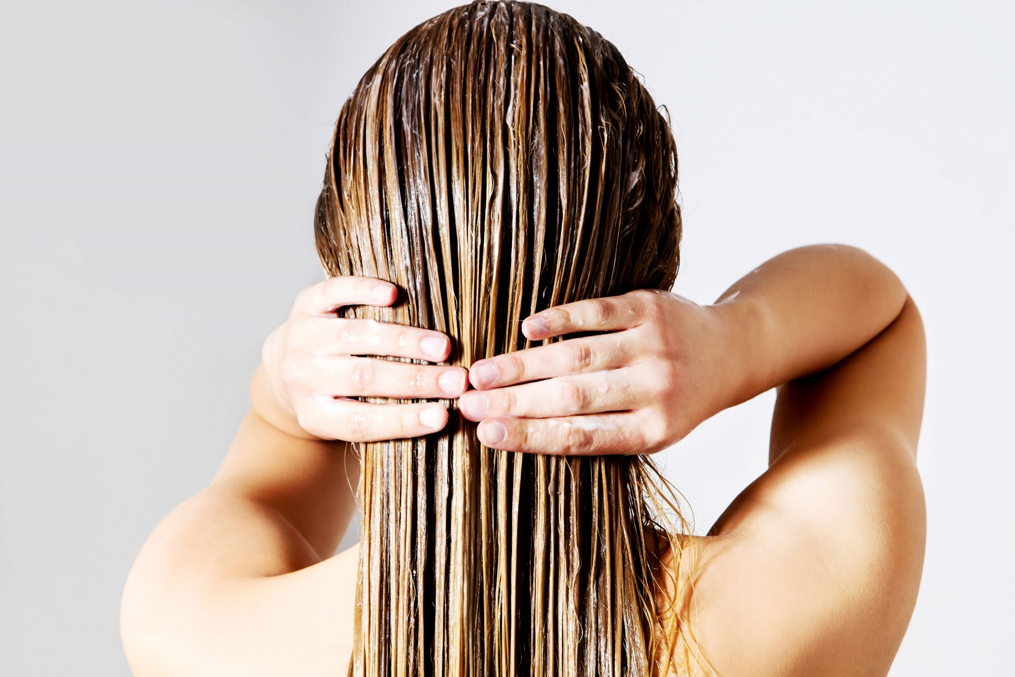 Woman Washing Hair Conditioner