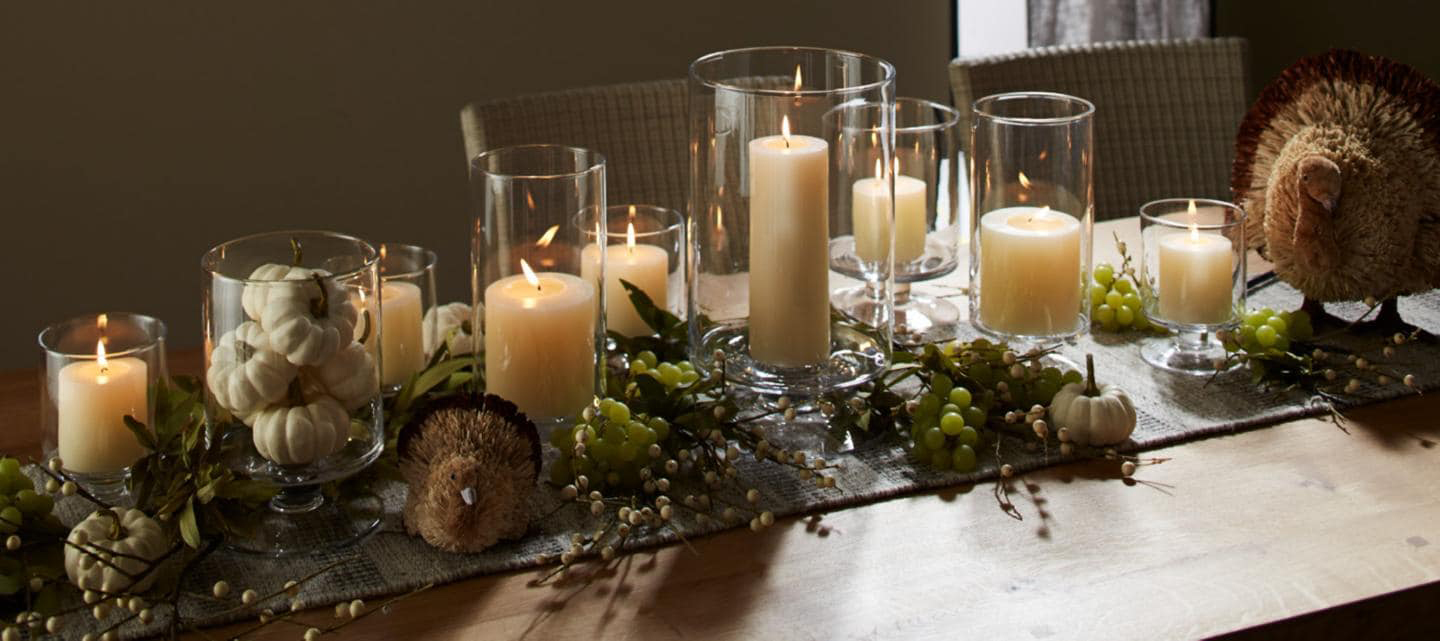 Thanksgiving candles create a beautiful centerpiece