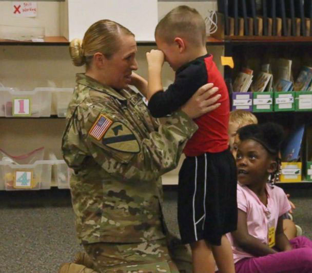 Lacey Poltoratskiy Surprises Son at Hewitt Elementary School
