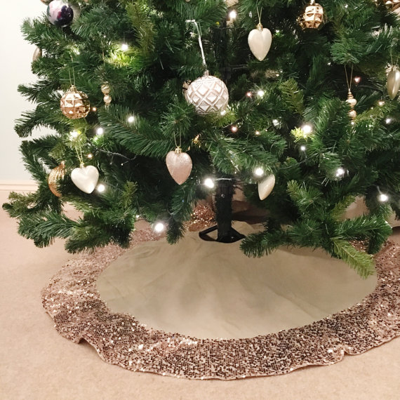Christmas Tree Skirt With Rose Gold Sequins