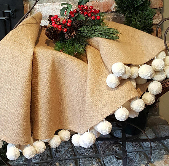 Burlap Tree Skirt With Giant Pom Poms