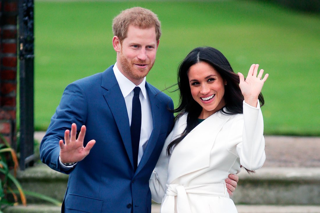 Prince Harry and Meghan Markle's Official Engagement Photos Waving