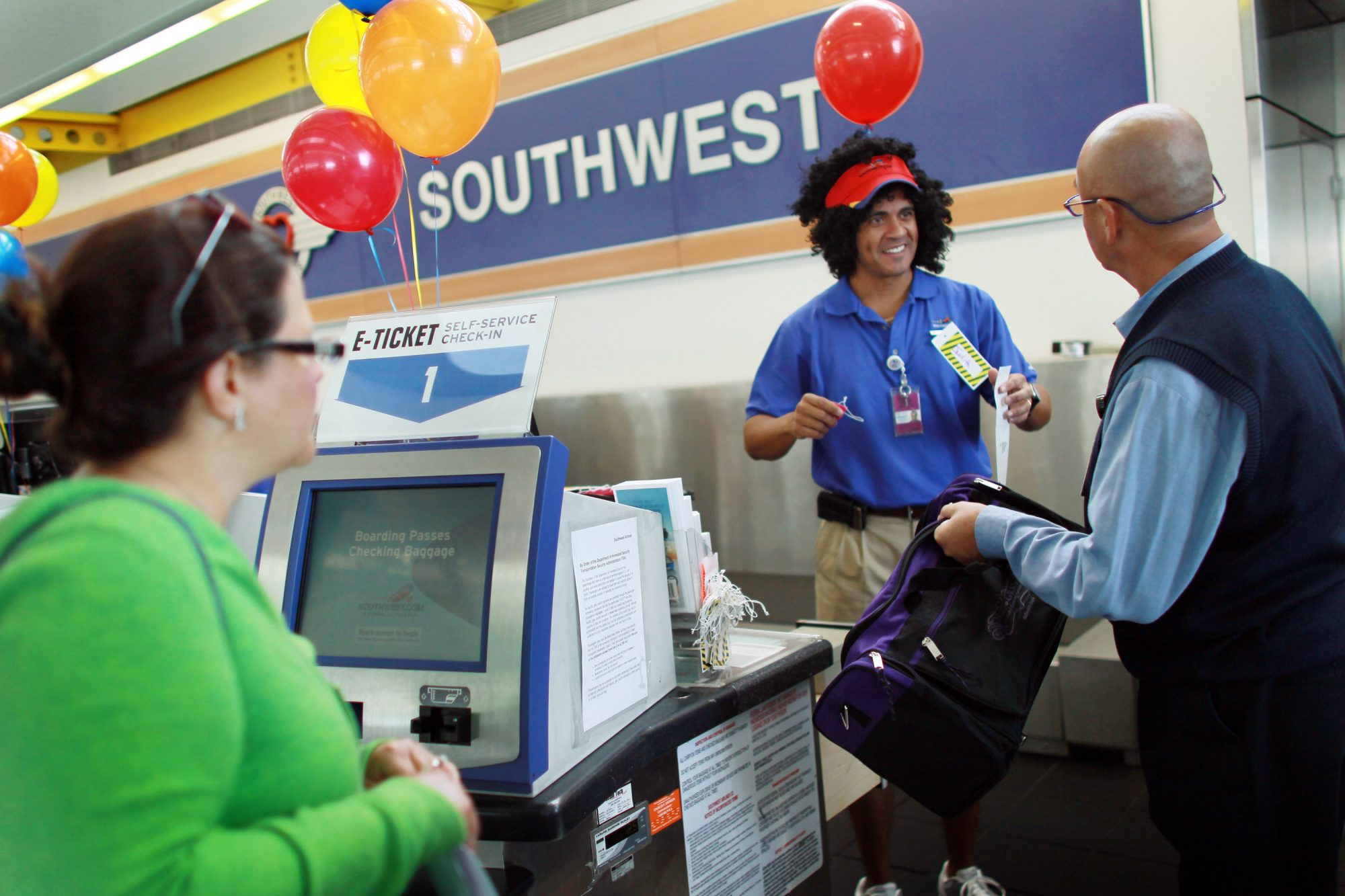Southwest Ticket Counter Adorned with Balloons