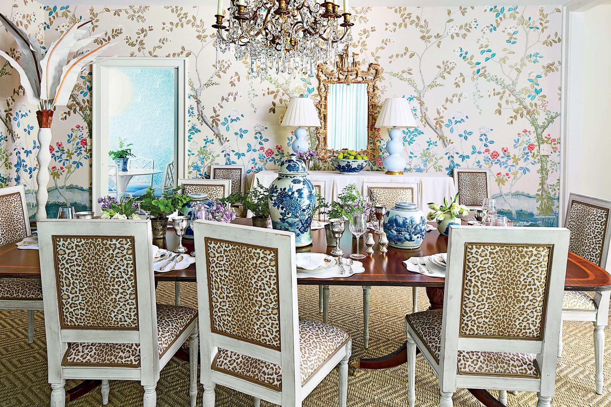 Allison Allen Floral and Leopard Dining Room