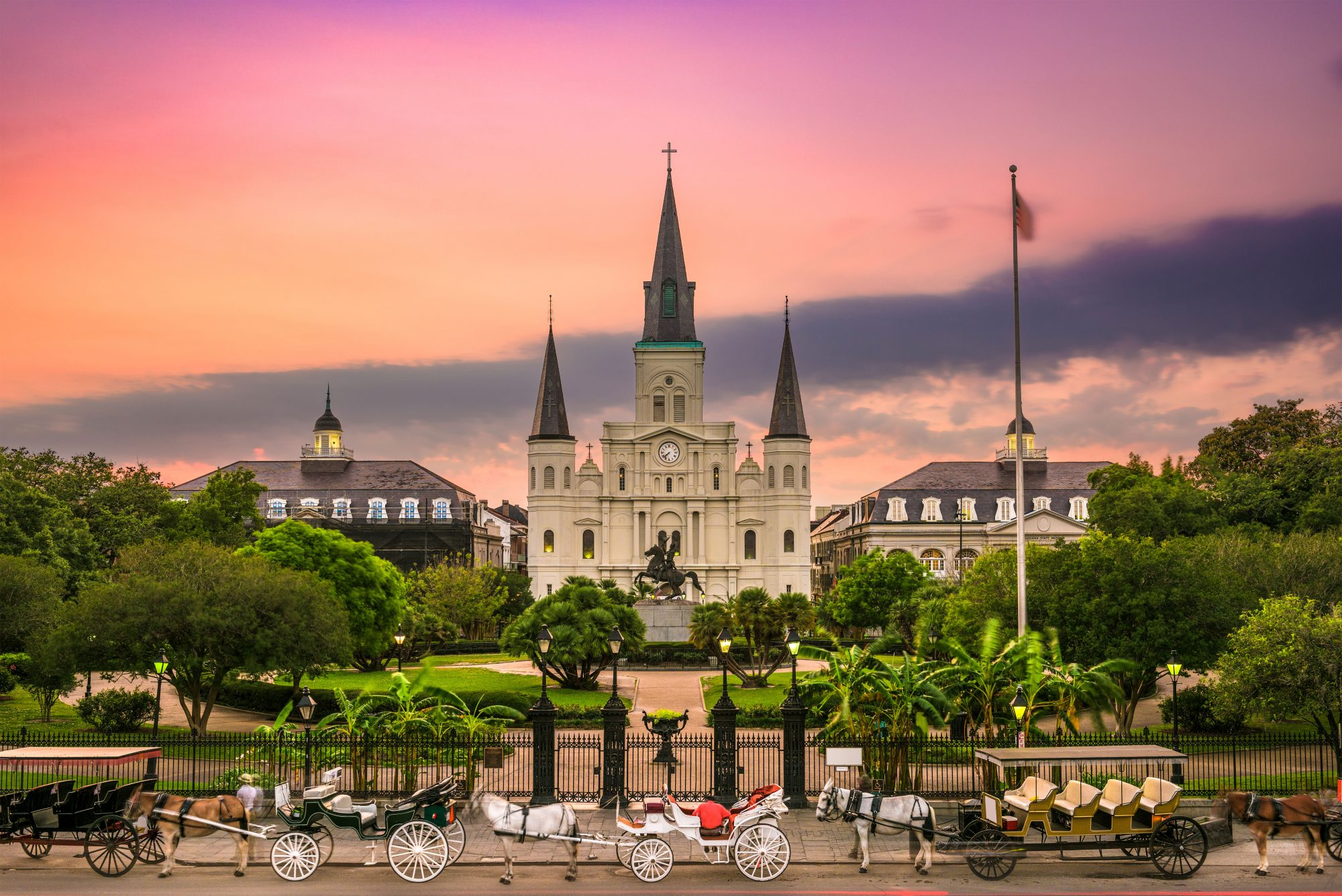 New Orleans Cathedral with Sunset