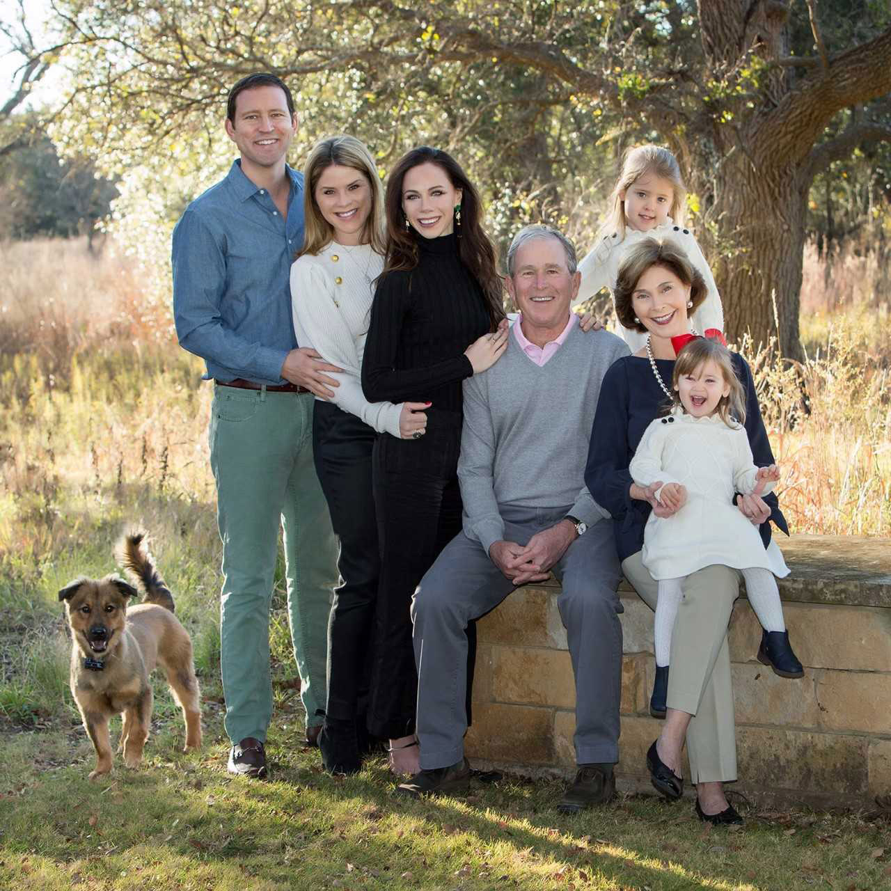 George W. Bush's Adorable Granddaughters -- and Dog -- Steal the Show in Family Christmas Photo