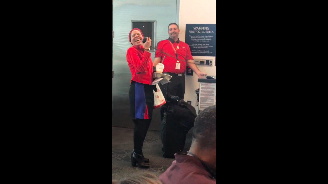 SW Flight Attendant Sings