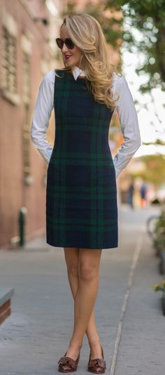 Tartan Dress with Layered Button Down