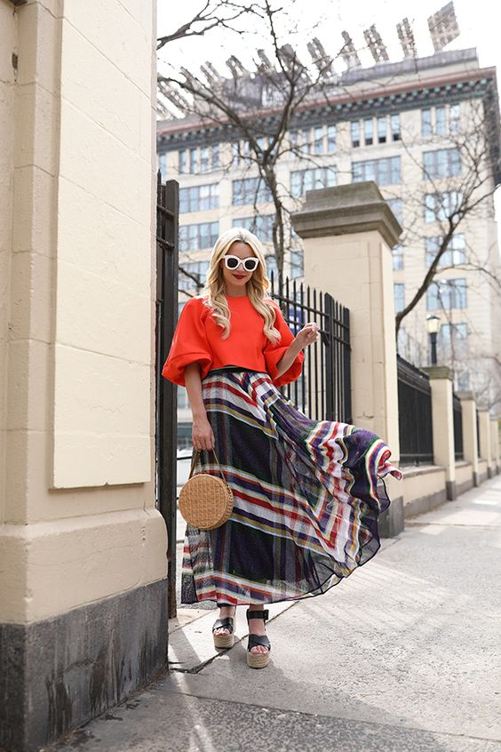 Spring Plaid Maxi Skirt with Pop of Color