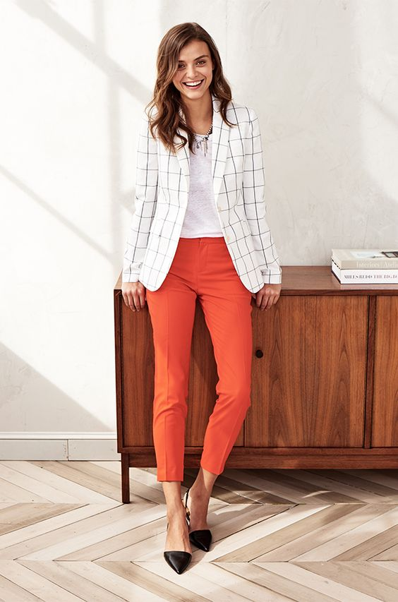 Windowpane Plaid Blazer with Statement Pants